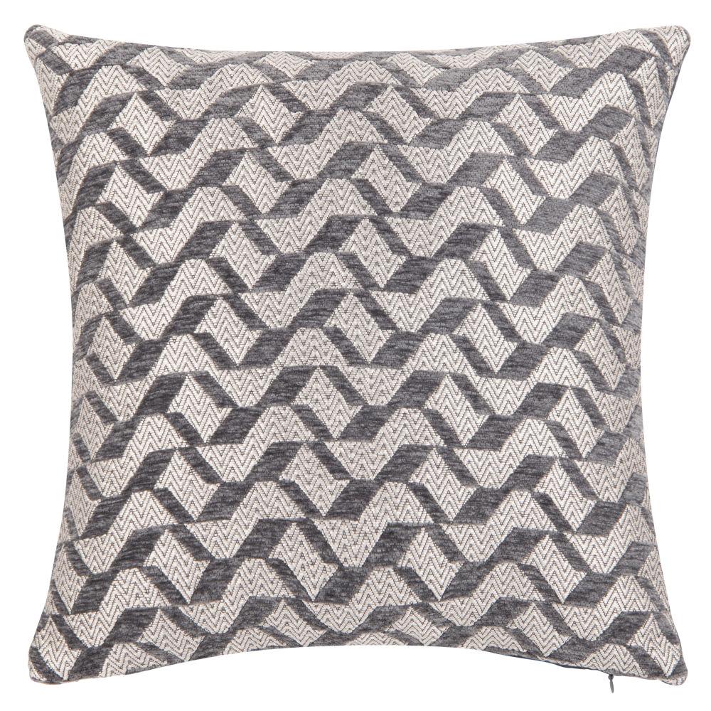 Housse de coussin à motifs gris anthracite et écru 40x40