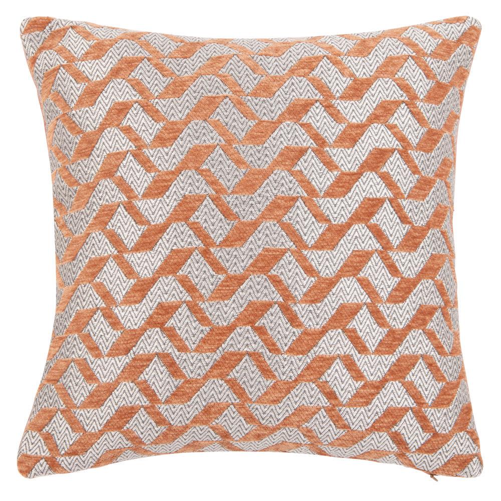 Housse de coussin à motifs orange et écru 40x40