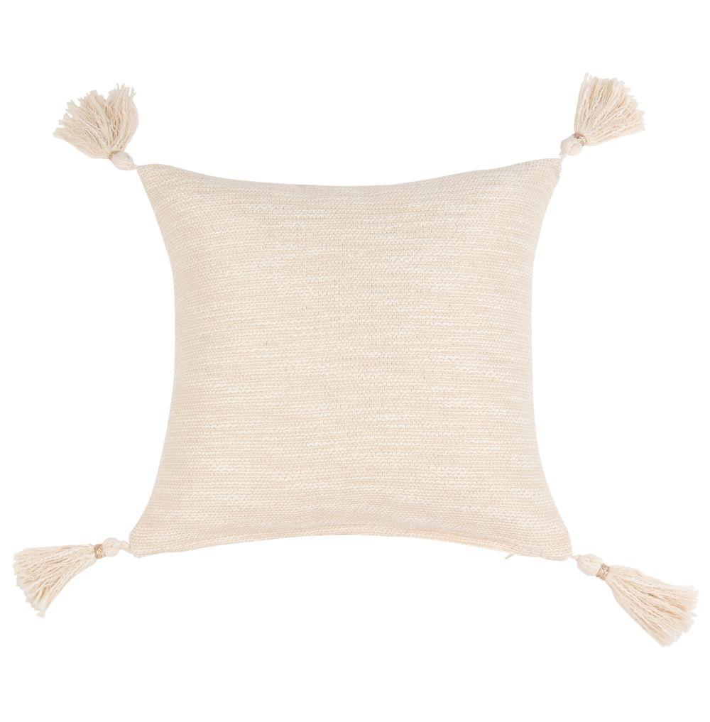 Housse de coussin à pompons en coton écru 40x40