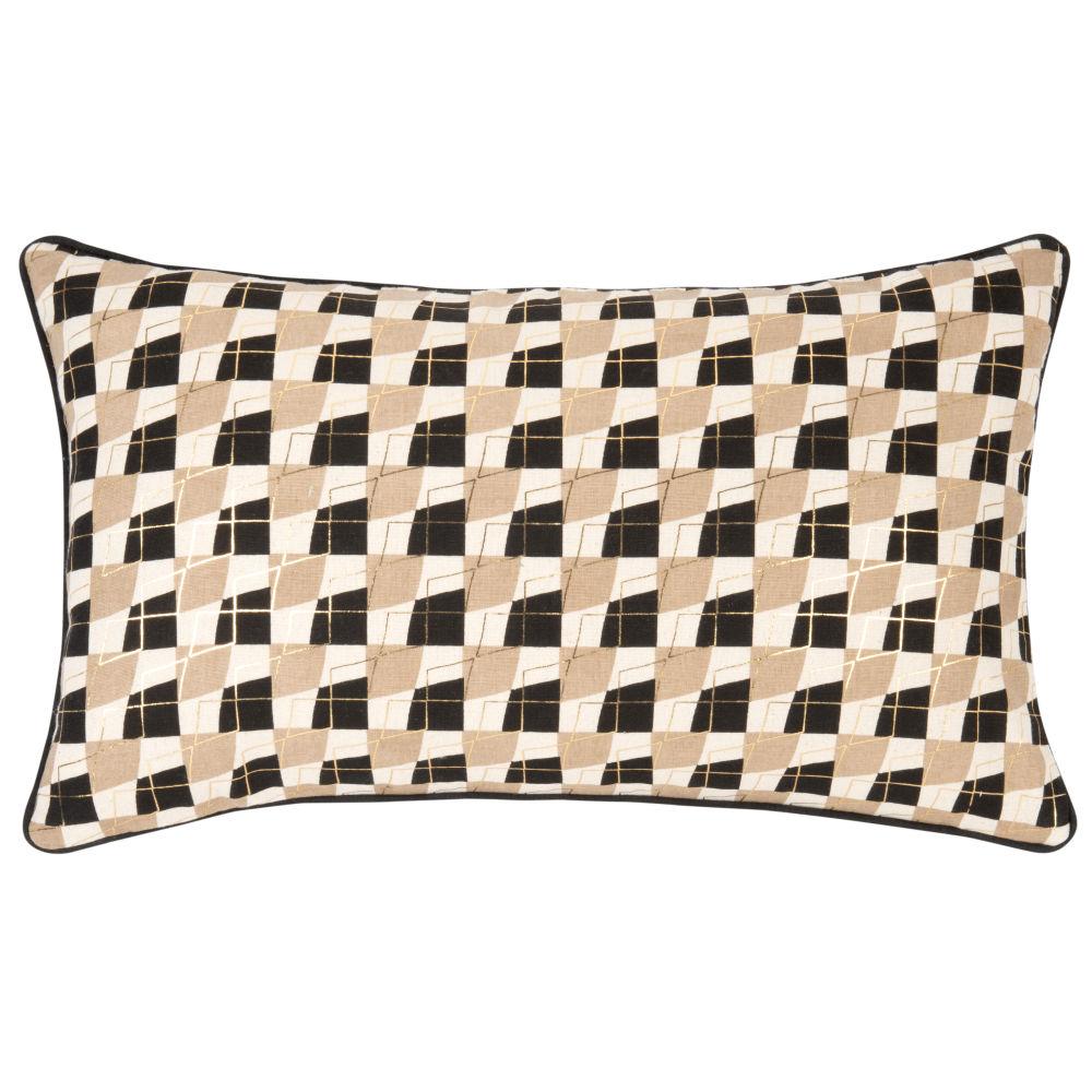 Housse de coussin en coton marron, doré et écru motifs graphiques 50x30