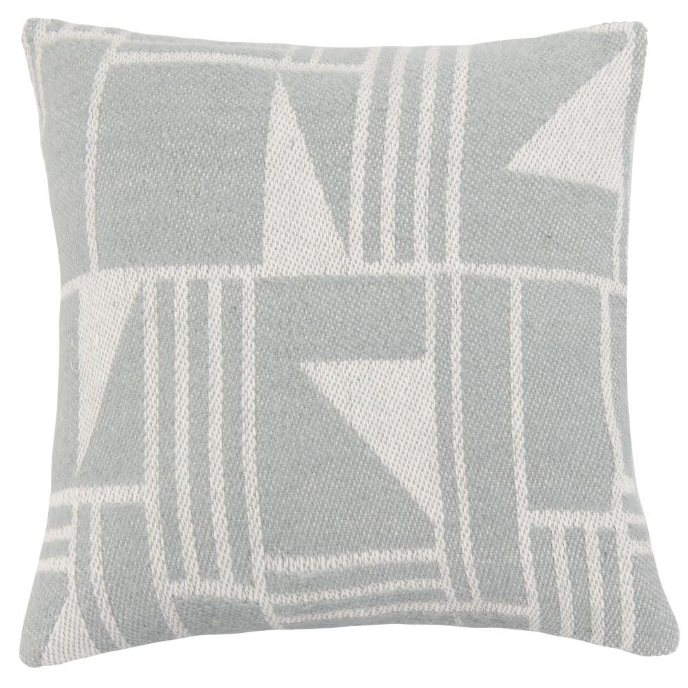Housse de coussin en coton motifs géométriques écru et bleu 40x40