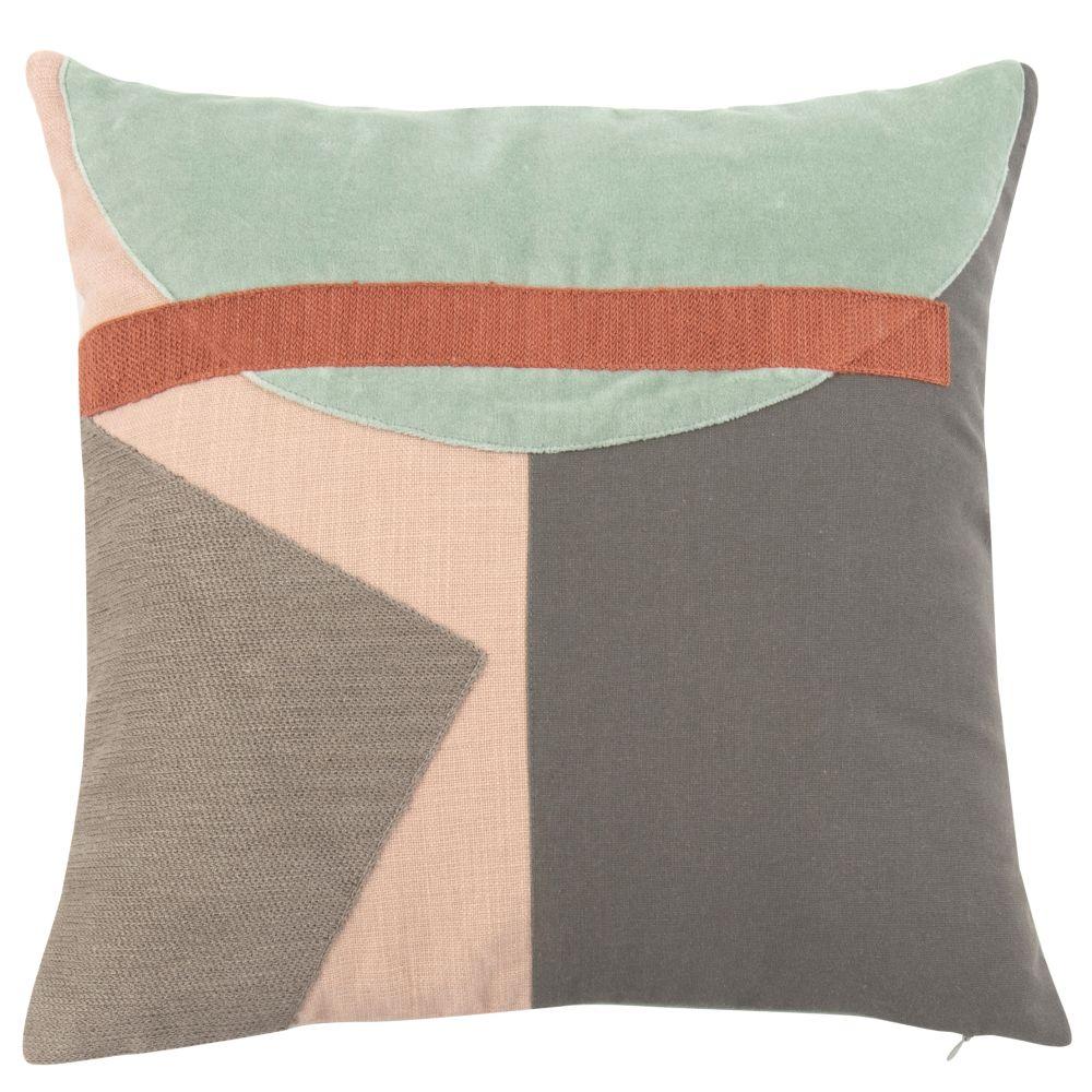 Housse de coussin en coton motifs graphiques multicolores 40x40