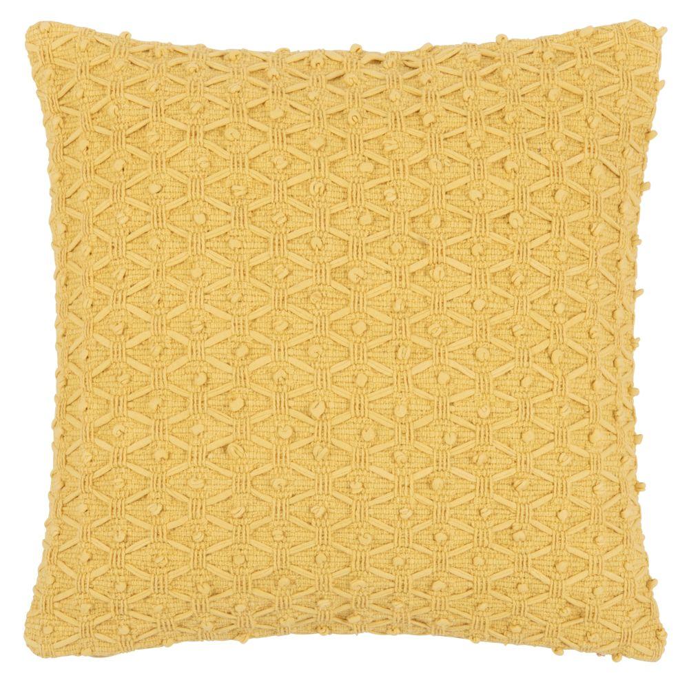 Housse de coussin en coton tissé jaune 40x40
