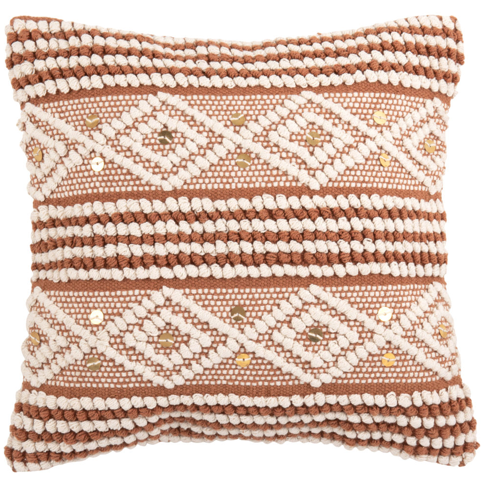 Housse de coussin en coton tissé orange à motifs blancs 40x40