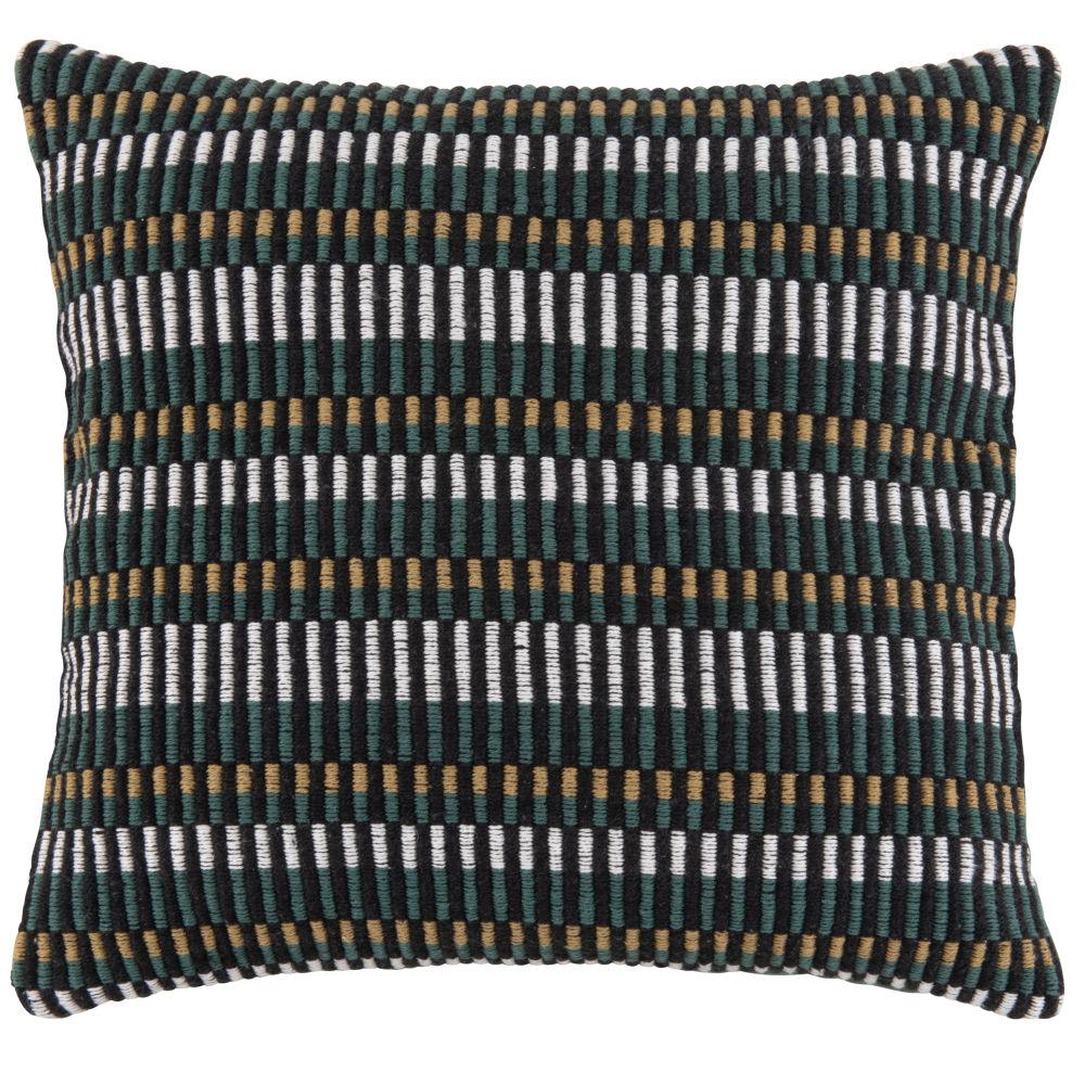 Housse de coussin en coton tissé vert, écru, noir et beige 40x40