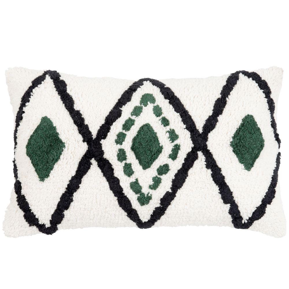 Housse de coussin en coton tufté écru motifs à losanges vert et noir 30x50