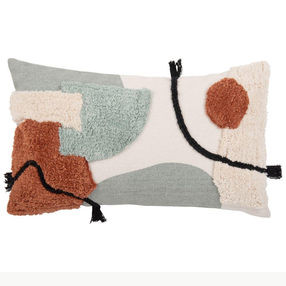 Housse de coussin en coton tufté écru, noir, brique, orange et bleu 30x50
