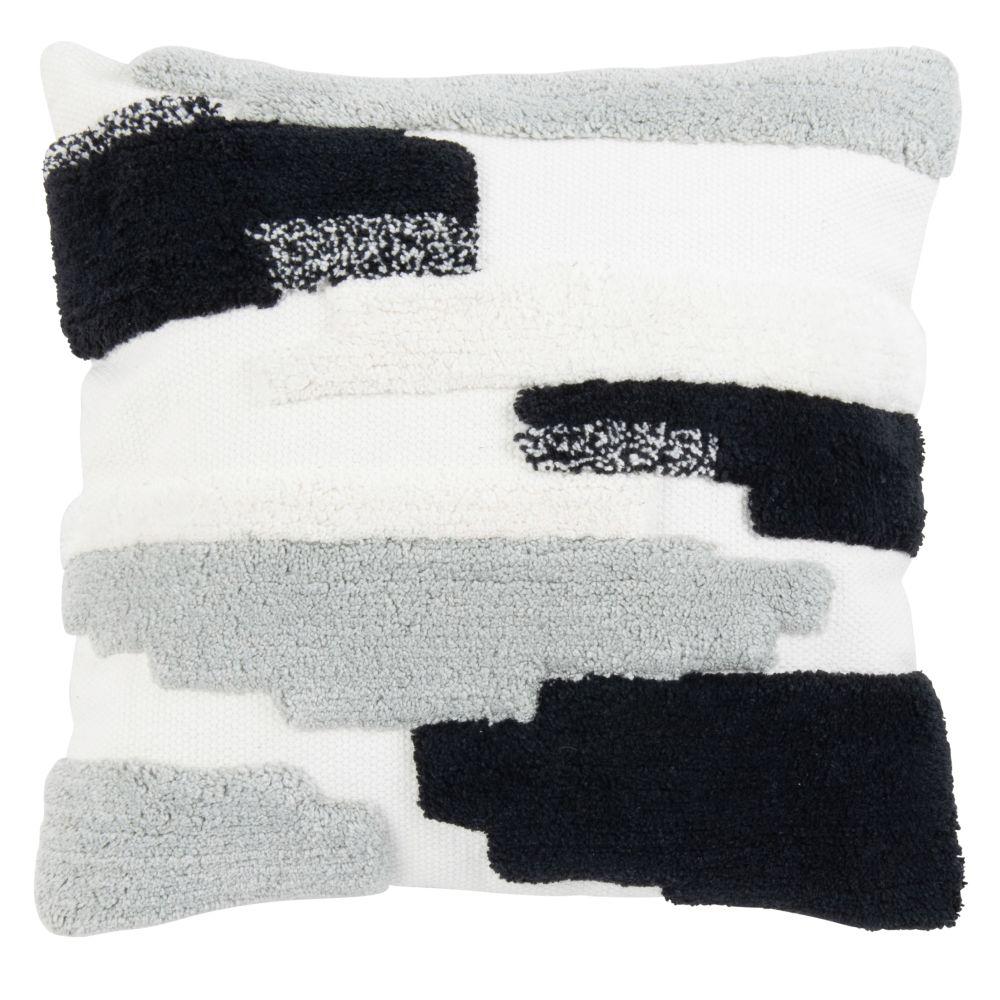 Housse de coussin en coton tufté tricolore 40x40