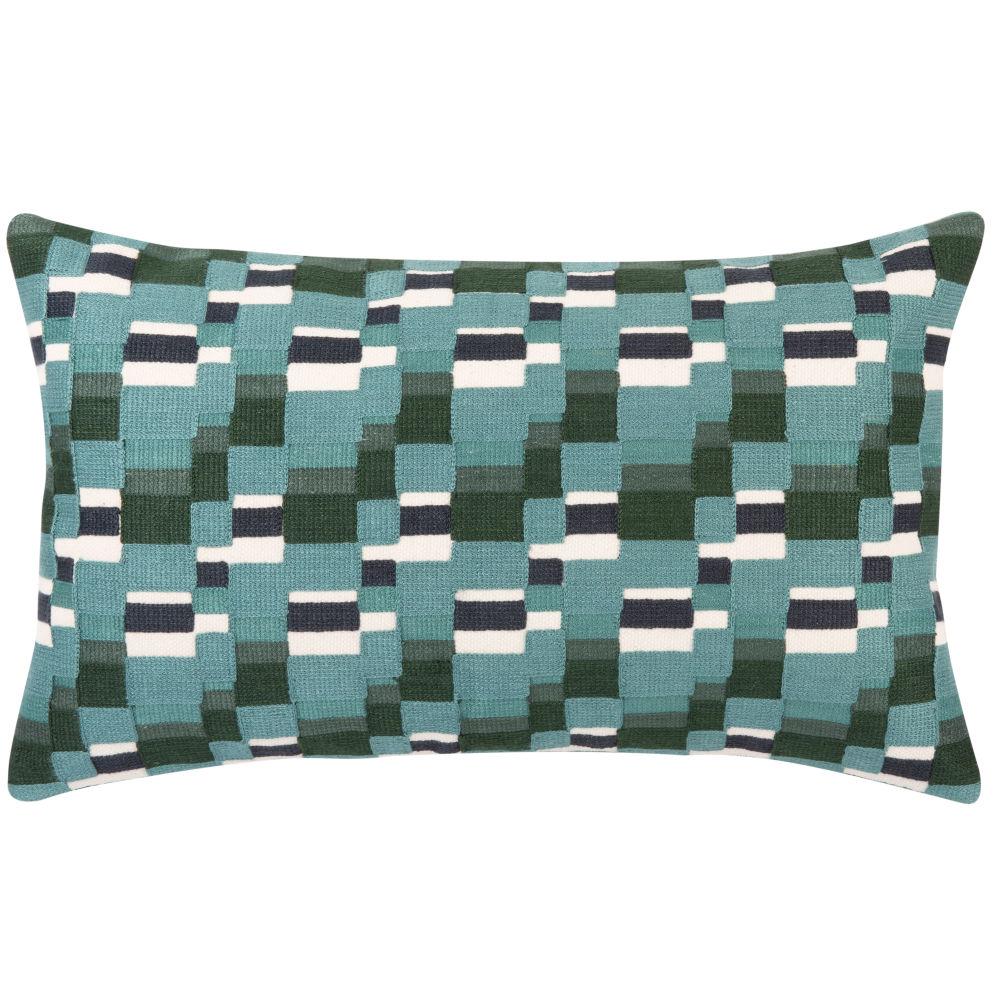 Housse de coussin en coton vert brodé bleu et blanc 50x30