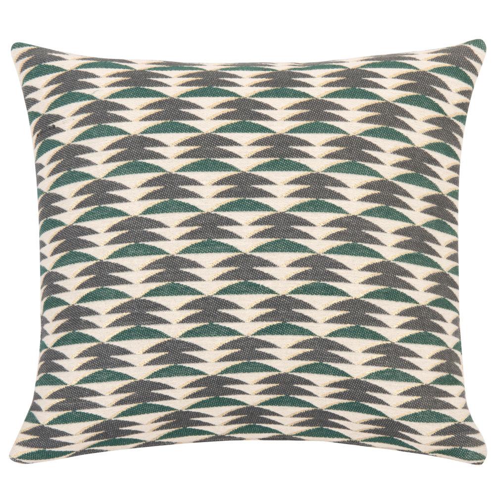 Housse de coussin en coton vert motifs écrus 40x40