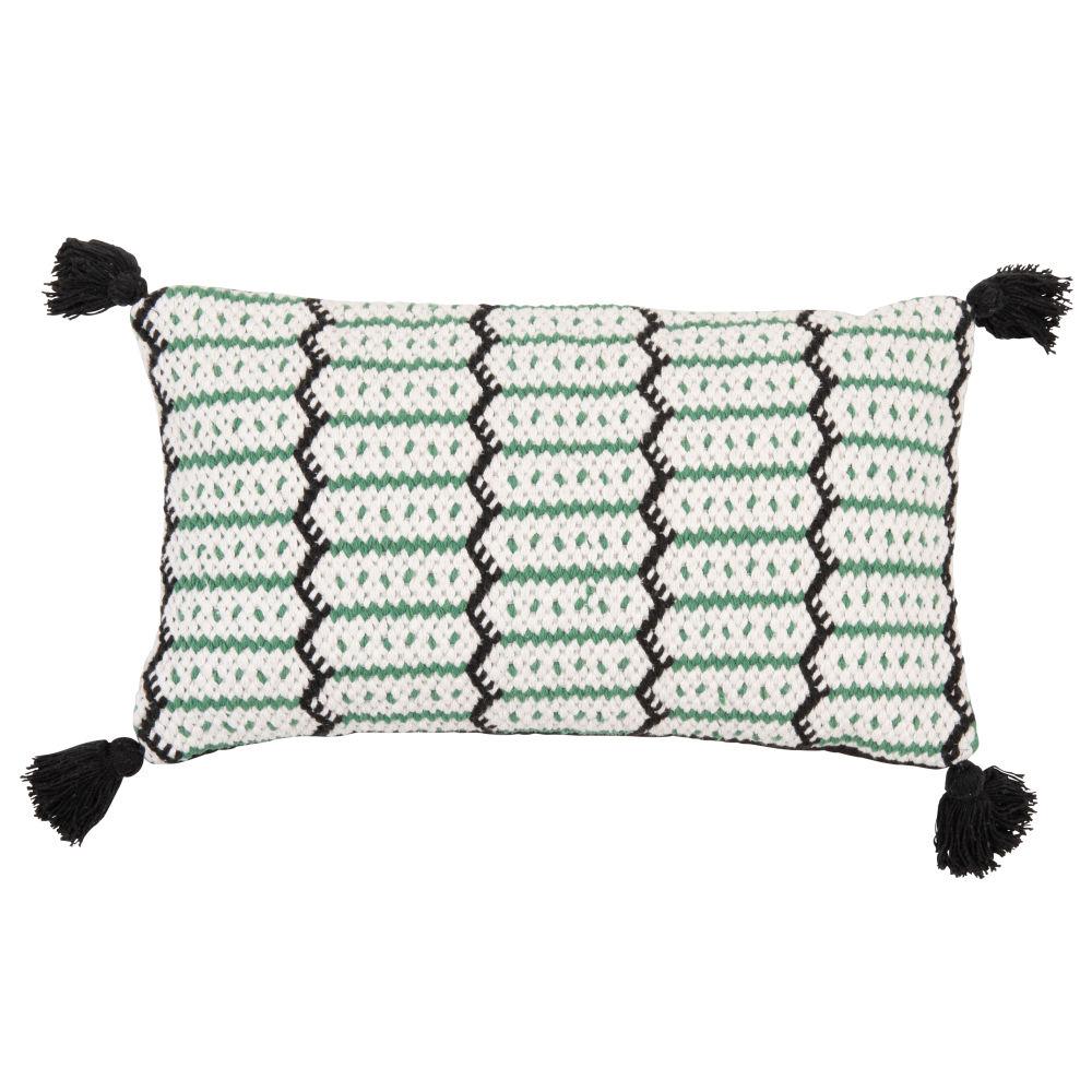 Housse de coussin en coton vert, noir et écru à pompons 30x50