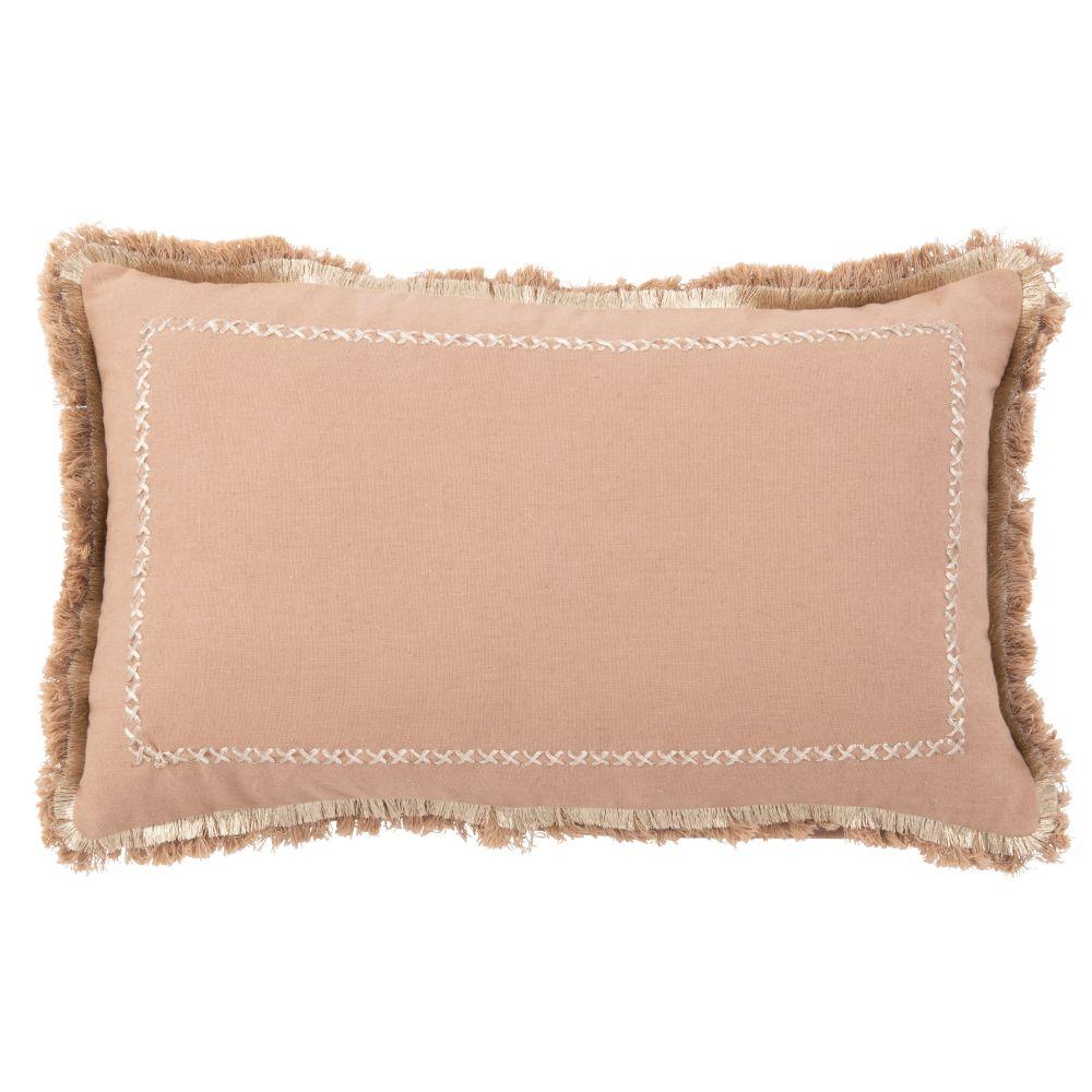 Housse de coussin en coton vieux rose à franges 30x50