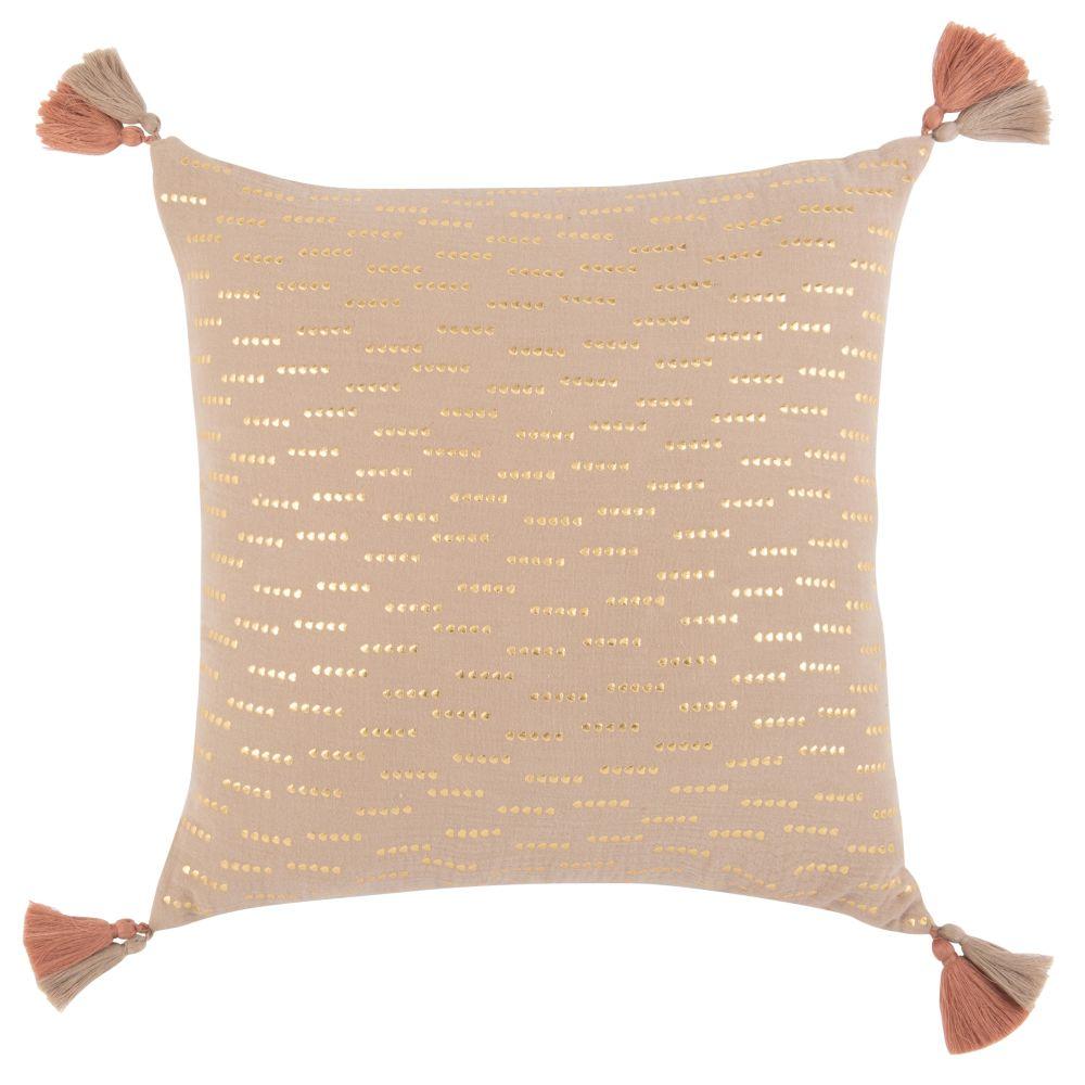 Housse de coussin en gaze de coton taupe, blanc et doré 40x40
