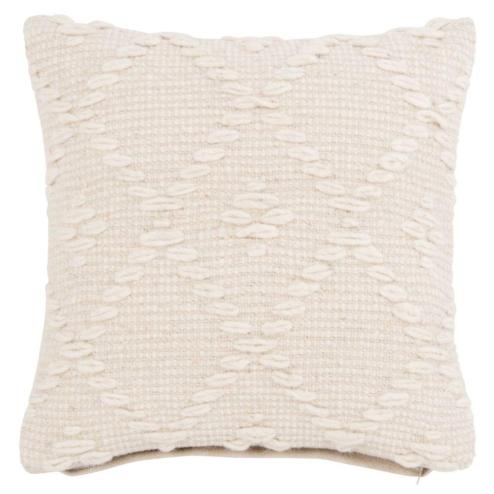 Housse de coussin en laine et coton écrus 40x40