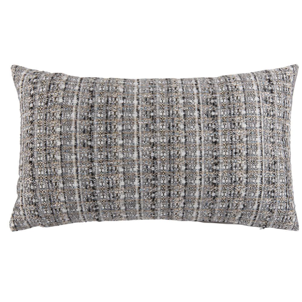 Housse de coussin en tweed écrue, grise et bleu gris 30x50