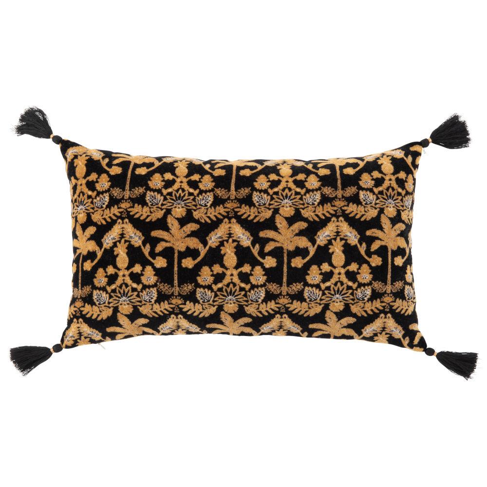 Housse de coussin en velours noir, jaune et doré 30x50