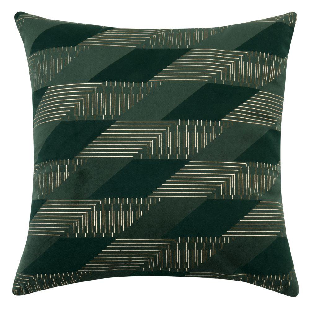 Housse de coussin en velours vert motifs graphique 40x40
