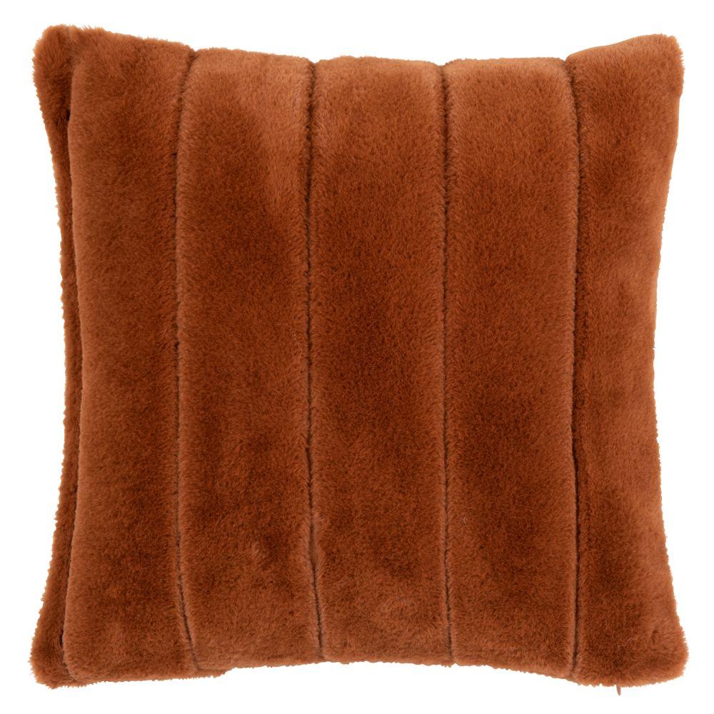 Housse de coussin imitation fourrure marron écureuil 40x40