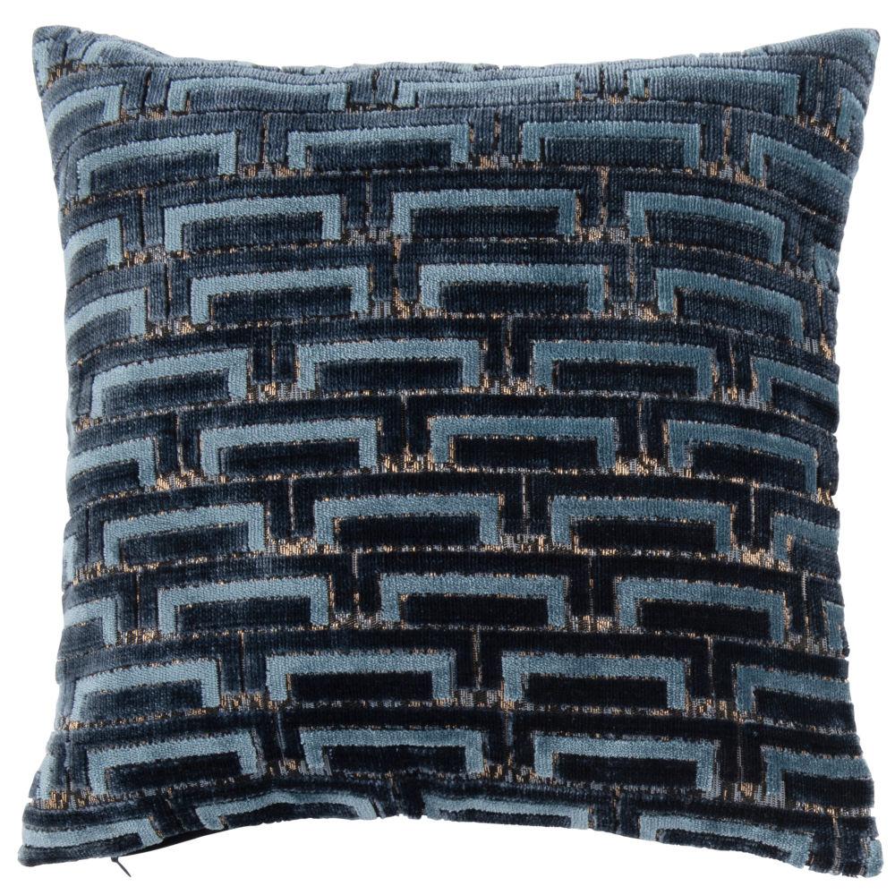 Housse de coussin tissée jacquard bleu nuit et détails dorés 40x40