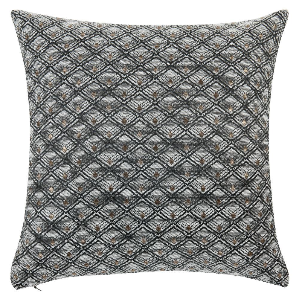 Housse de coussin tissée jacquard gris, noire et dorée 40x40