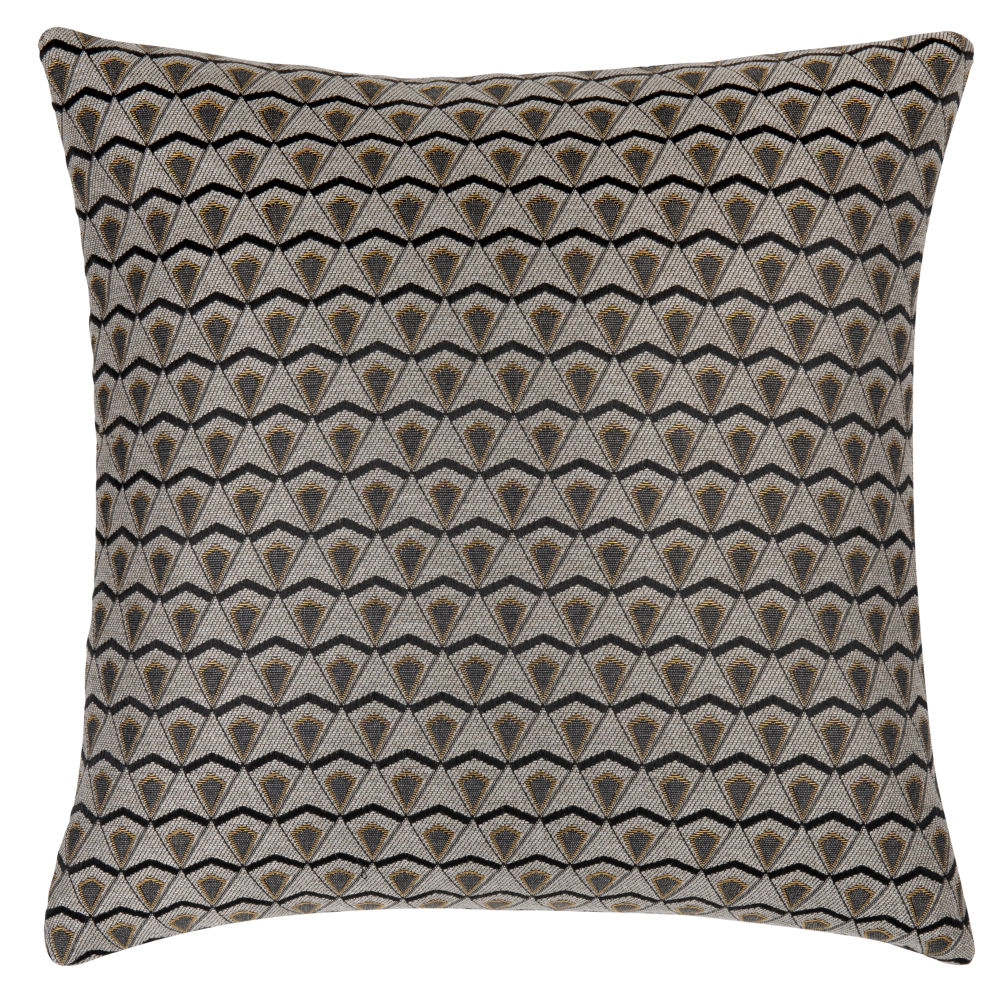 Housse de coussin tissée jacquard grise, caramel et noire 40x40