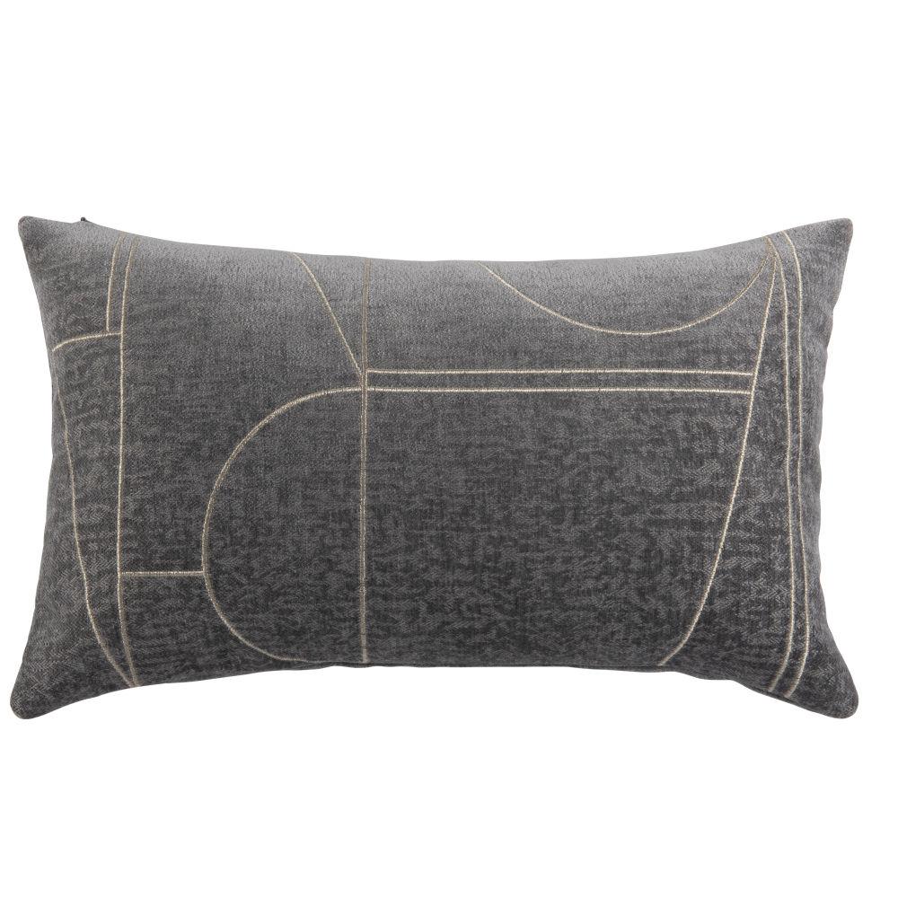 Housse de coussin tissée jacquard motifs graphiques gris ardoise et doré 30x50