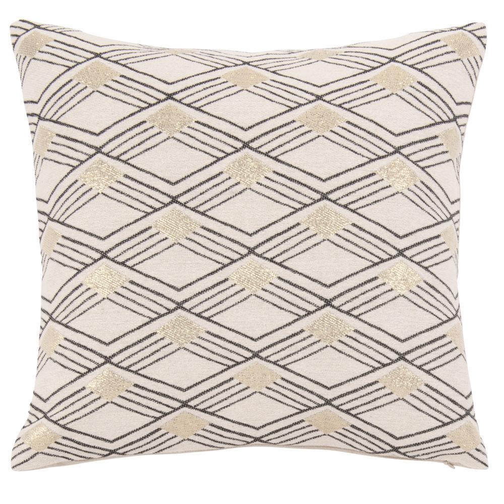 Housse de coussin tissée jacquard motifs losanges beige, noir et doré 40x40