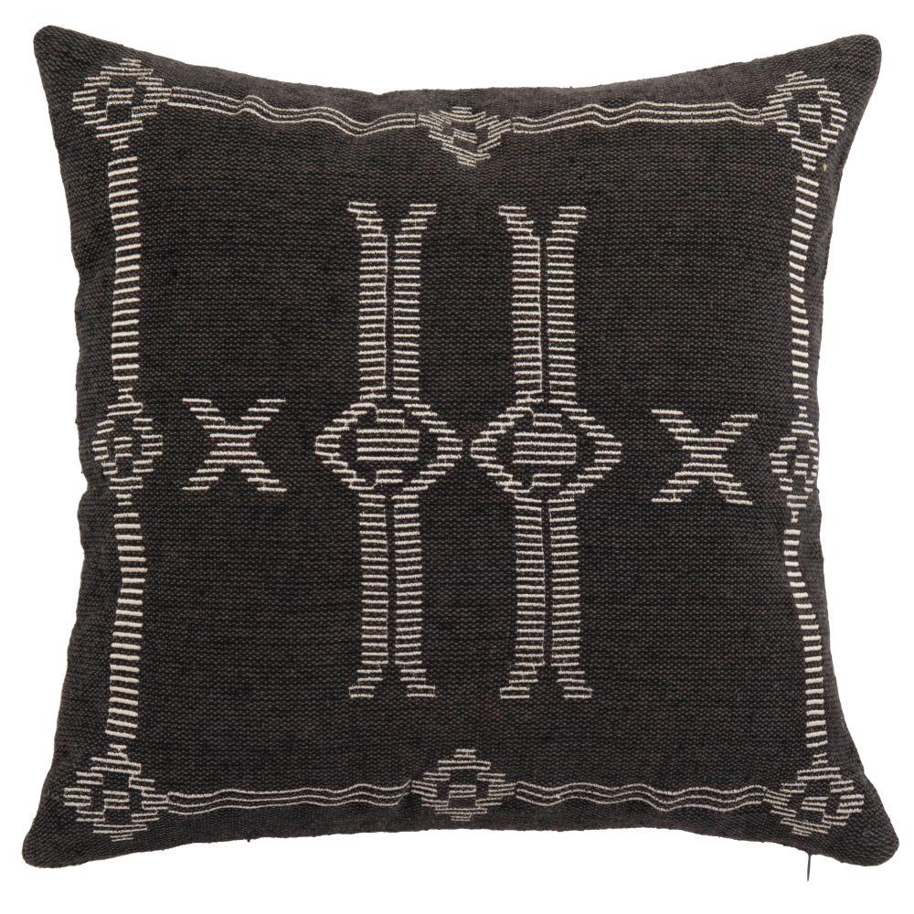 Housse de coussin tissée main en coton recyclé gris anthracite à motifs blancs 40x40