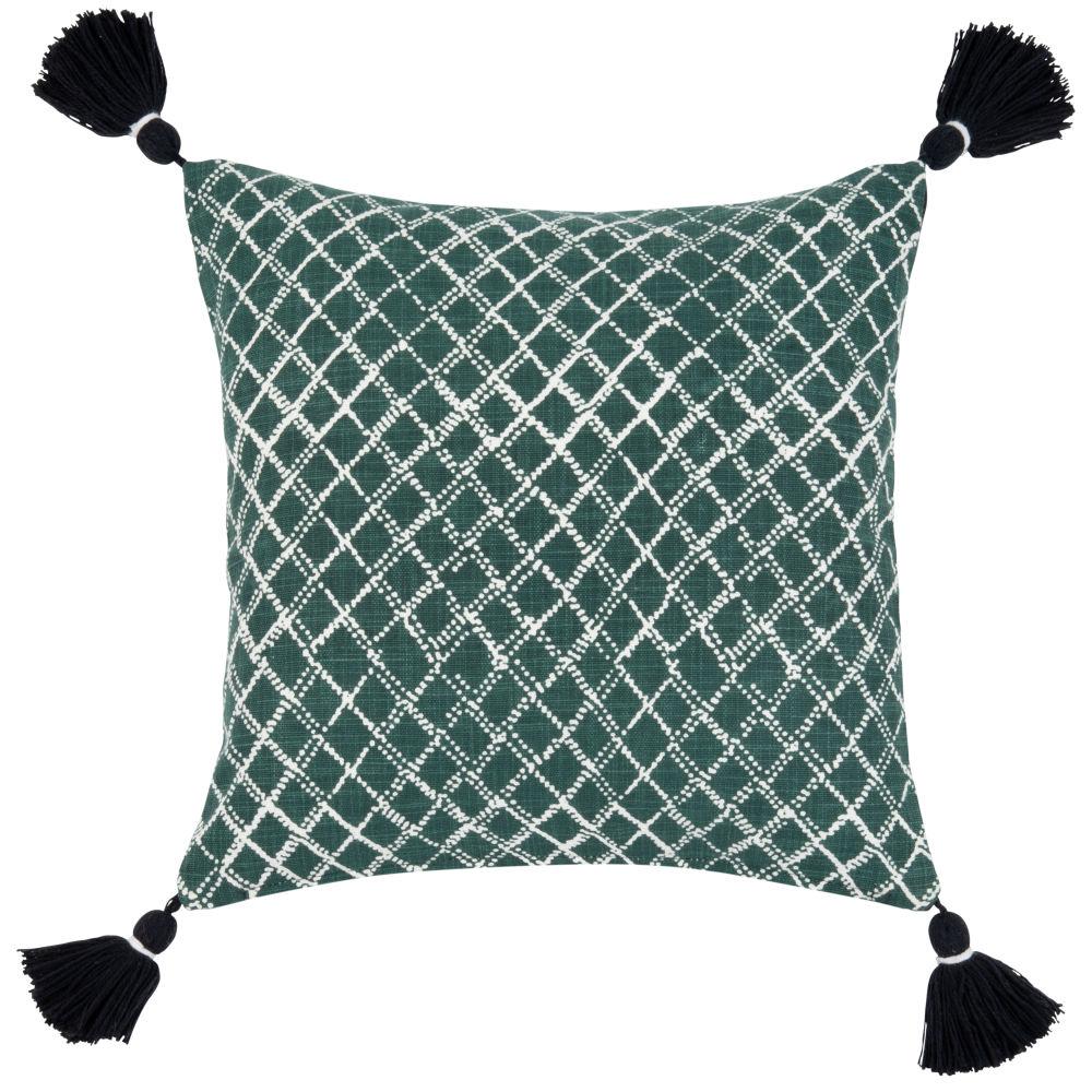 Housse de coussin verte motifs géométriques blancs 40x40