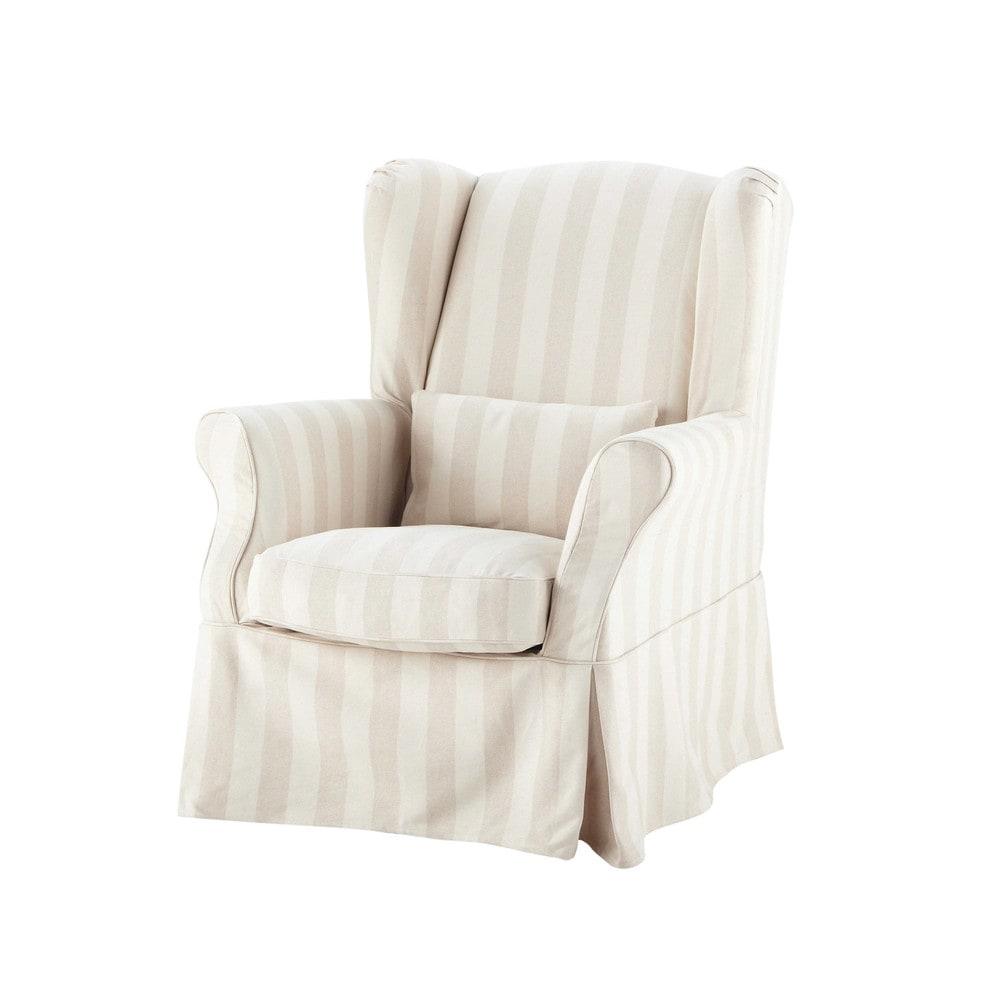Housse de fauteuil à rayures en coton beige