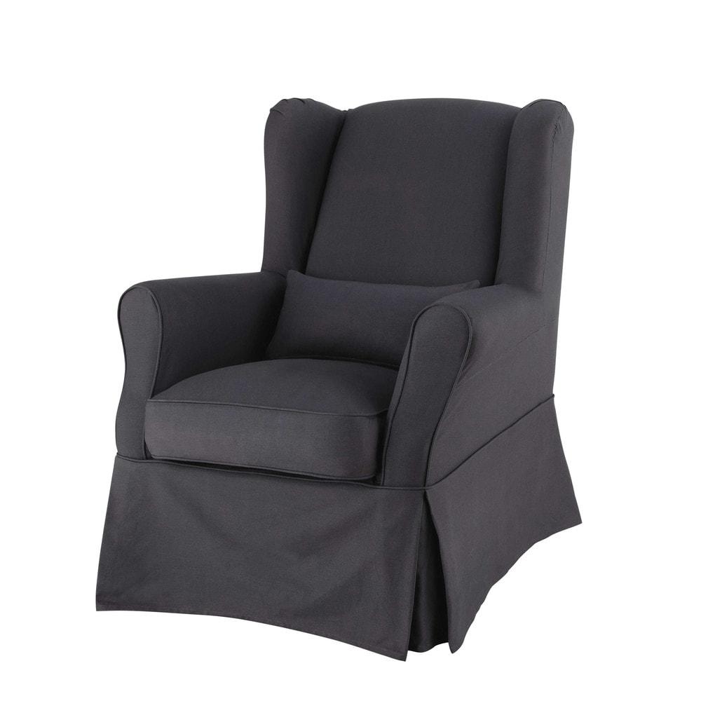 Housse de fauteuil en coton anthracite