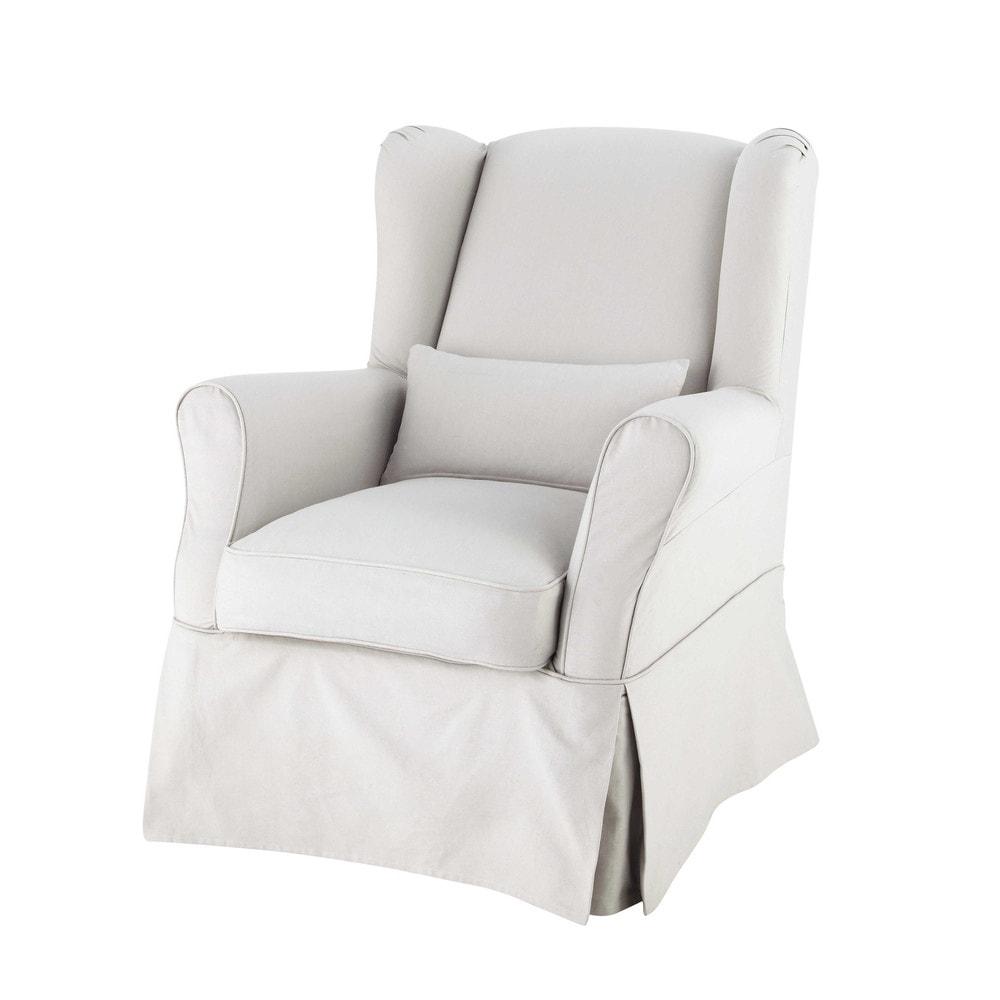 Housse de fauteuil en coton gris clair