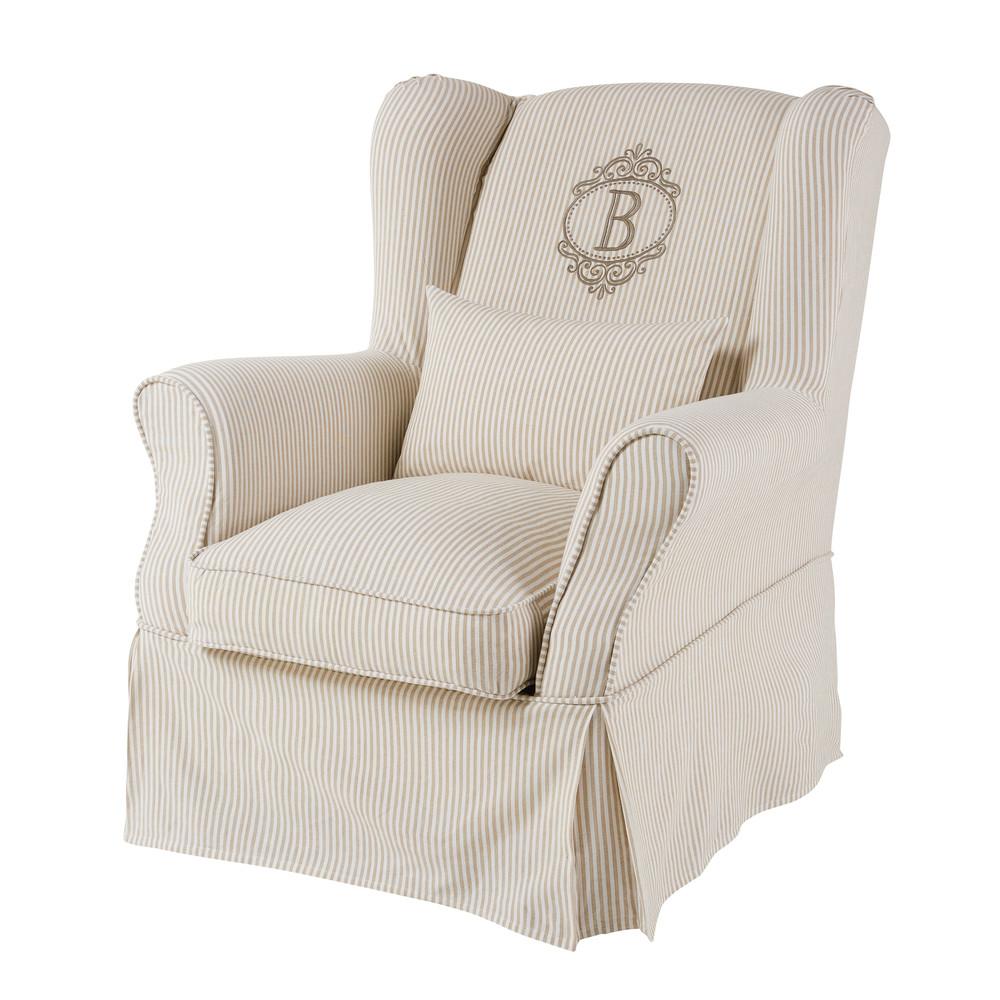 Housse de fauteuil en coton motifs rayures 80x98