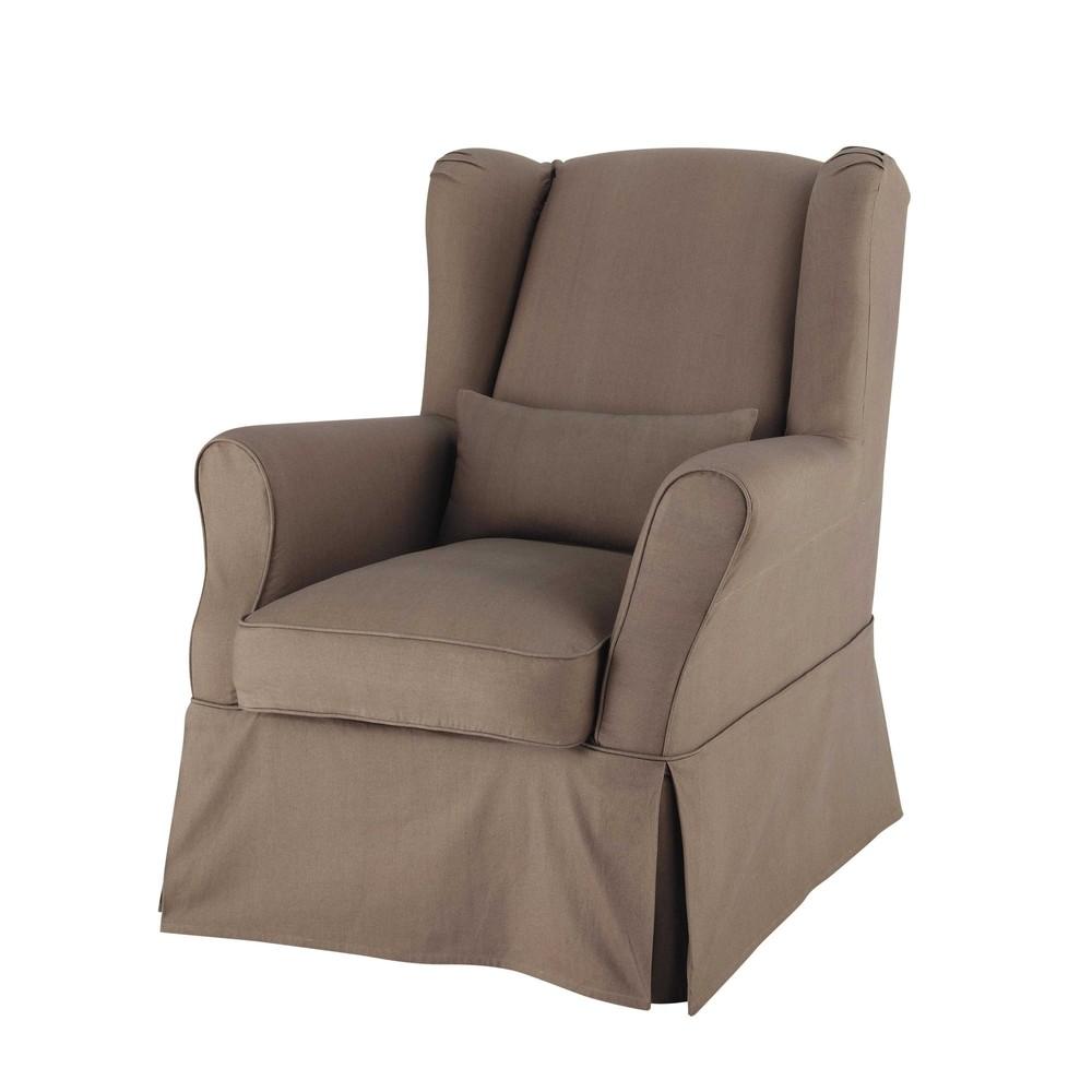Housse de fauteuil en coton taupe