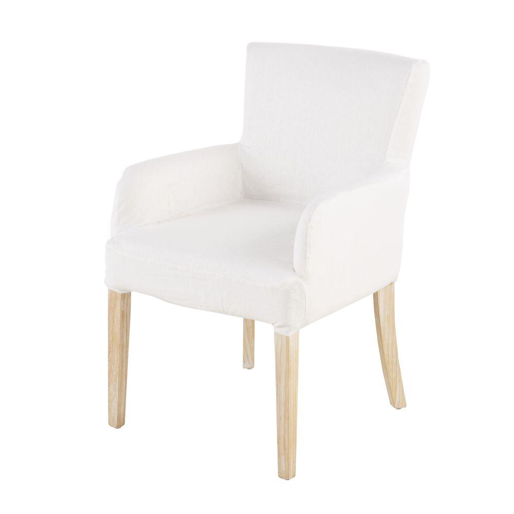 Housse de fauteuil en lin blanc (photo)