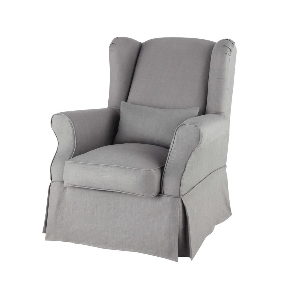 Housse de fauteuil en lin grise