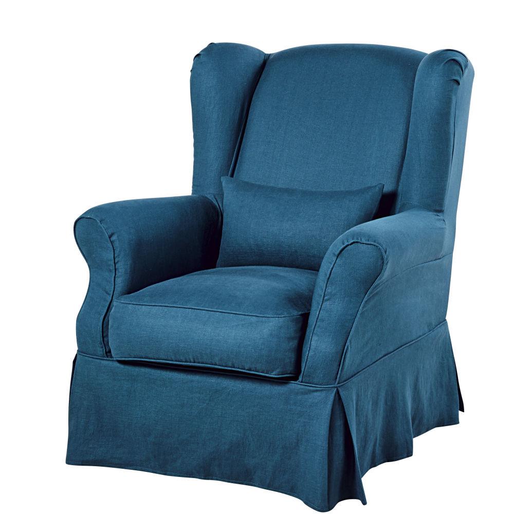 Housse de fauteuil en lin lavé bleu paon
