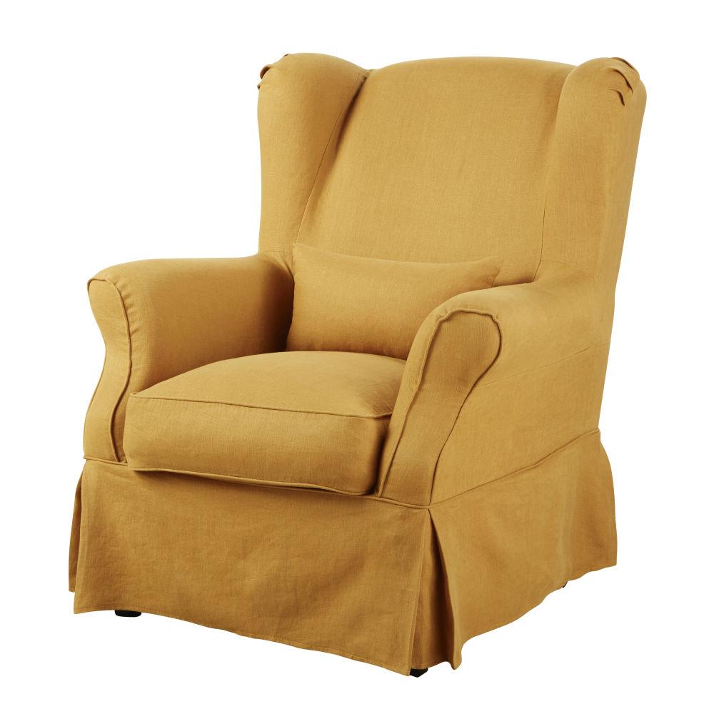 Housse de fauteuil en lin ocre