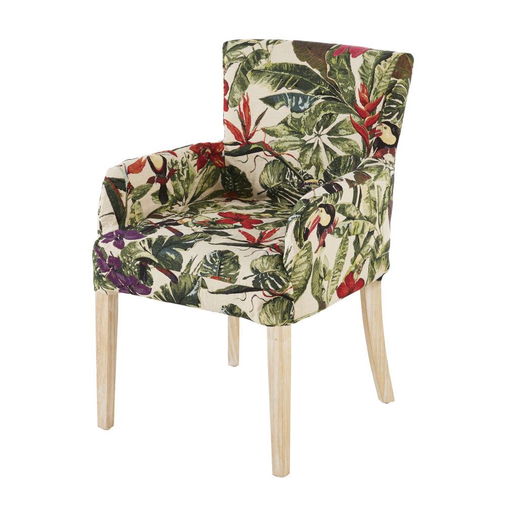 Housse de fauteuil imprimé végétal multicolore (photo)