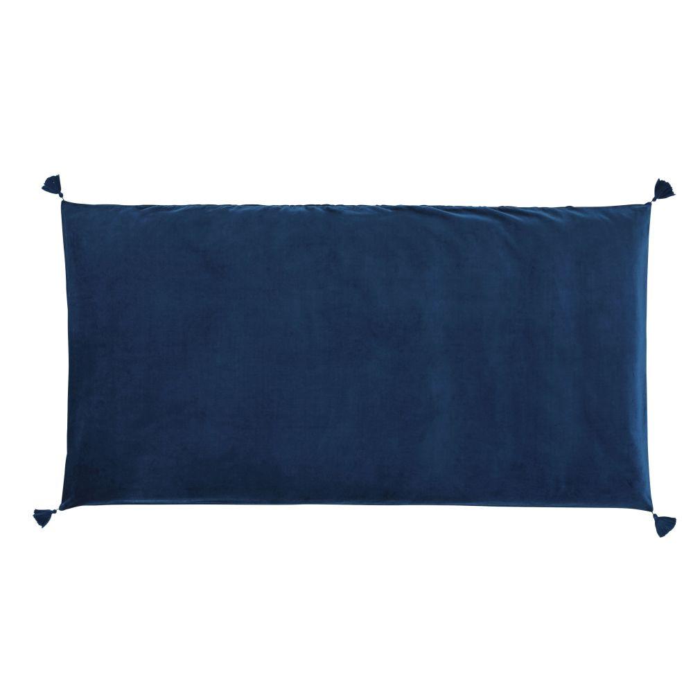Housse de matelas de sol en velours de coton bleu 60x120