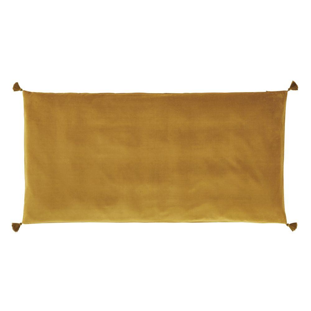Housse de matelas de sol en velours de coton ocre 60x120