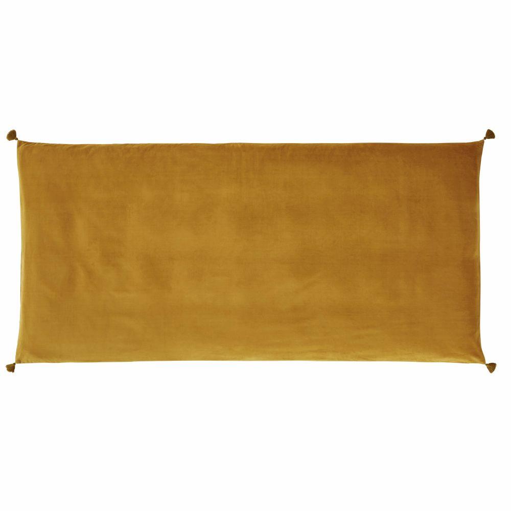 Housse de matelas de sol en velours de coton ocre 90x190