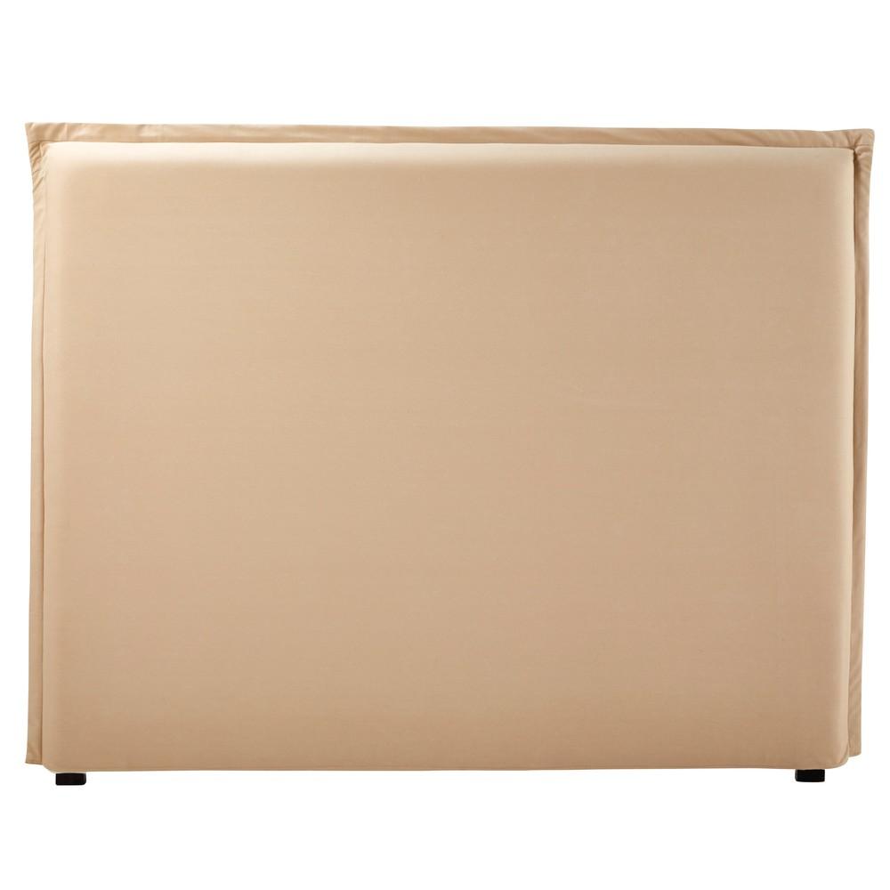 Housse de tête de lit 140 en coton beige