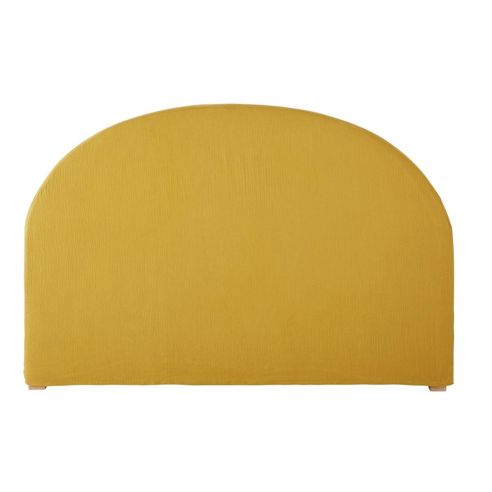 Housse de tête de lit 140 en gaze de coton bio jaune moutarde