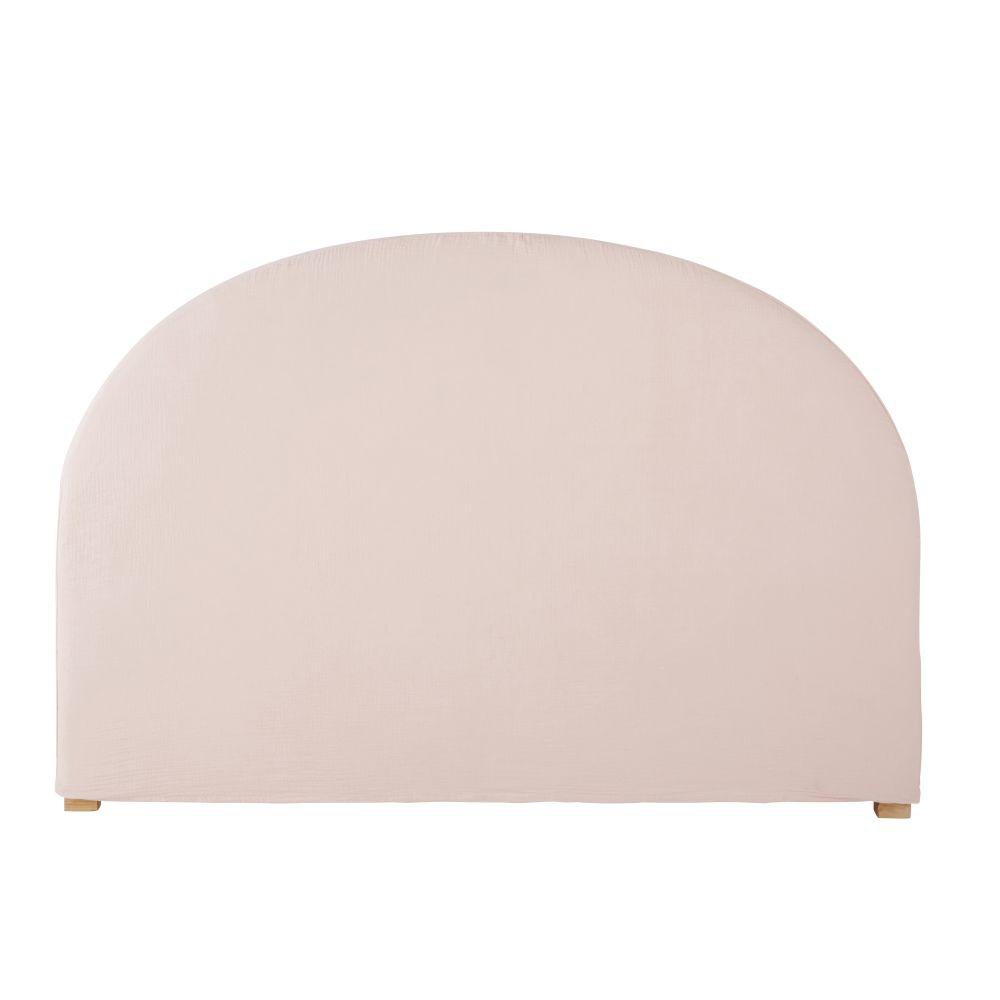 Housse de tête de lit 140 en gaze de coton bio rose