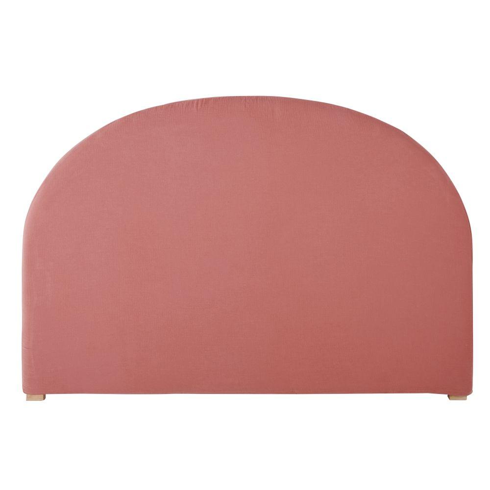 Housse de tête de lit 140 en gaze de coton bio rose framboise