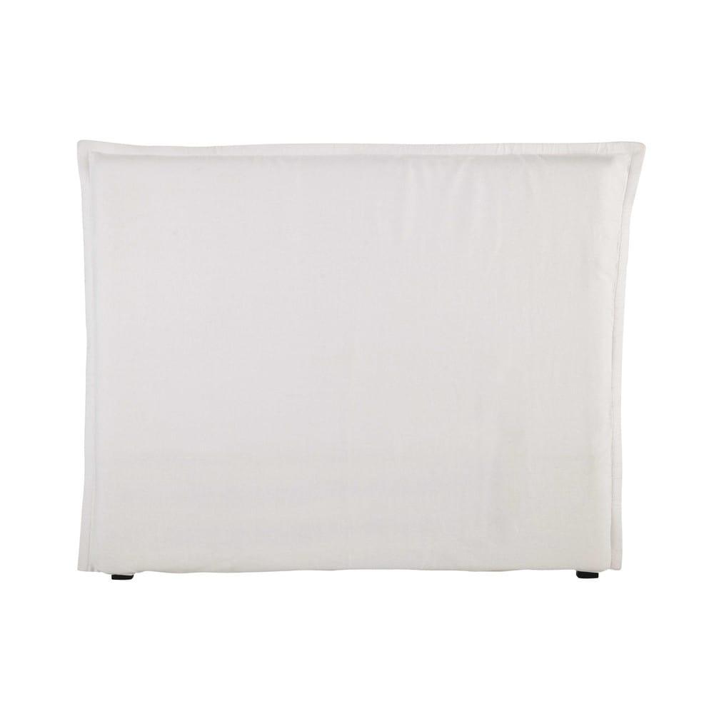Housse de tête de lit 140 en lin lavé blanche