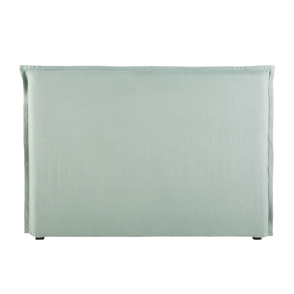 Housse de tête de lit 140 en lin lavé vert jade