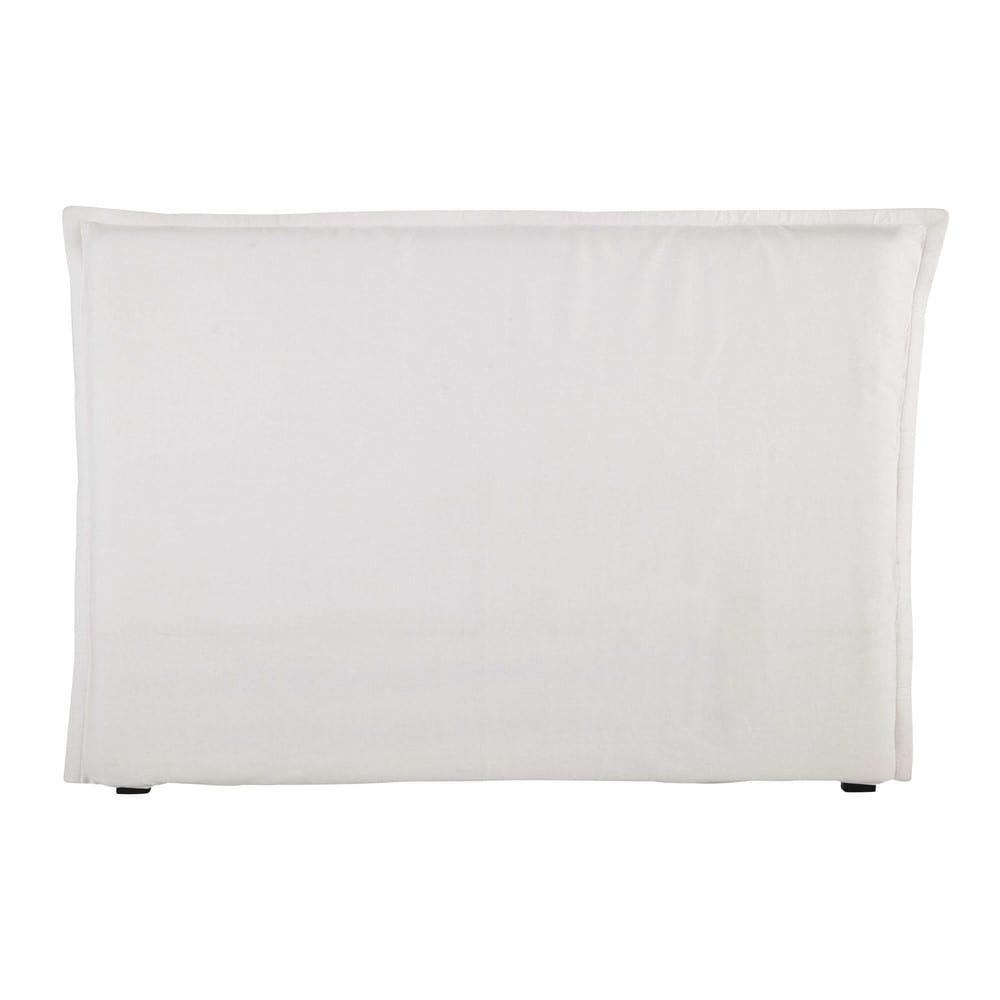 Housse de tête de lit 160 en lin lavé blanche