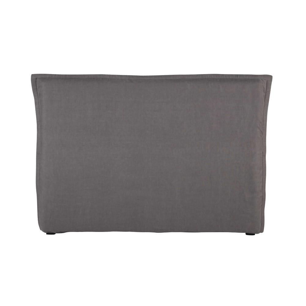Housse de tête de lit 160 en lin lavé grise
